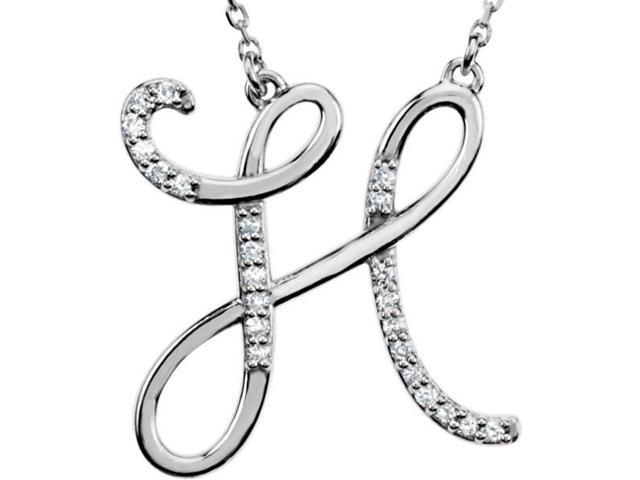 Genuine Sterling Silver Diamond Initial H Pendant with a chain