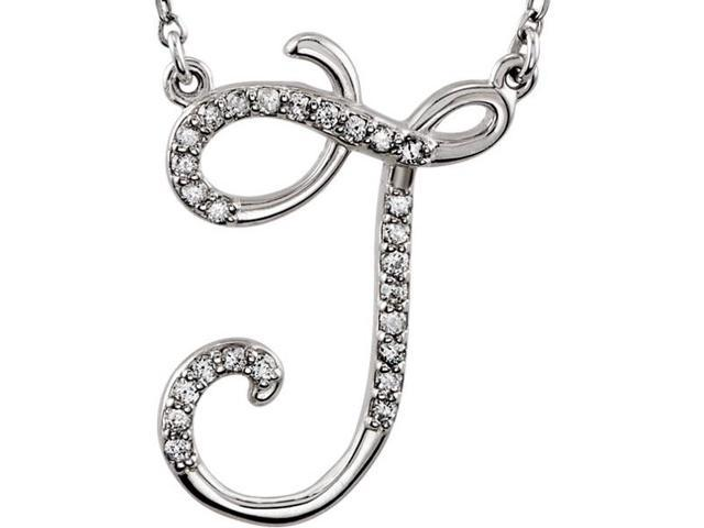 Genuine Sterling Silver Diamond Initial J Pendant with a chain