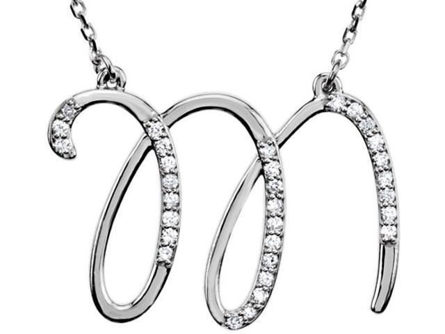 Genuine Sterling Silver Diamond Initial M Pendant with a chain