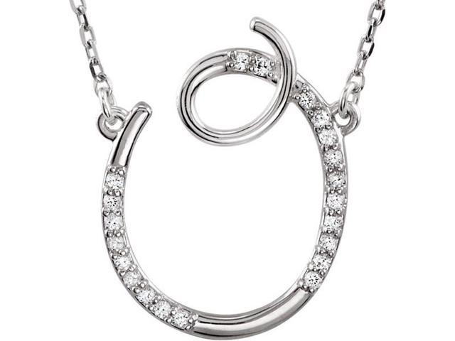 Genuine Sterling Silver Diamond Initial O Pendant with a chain
