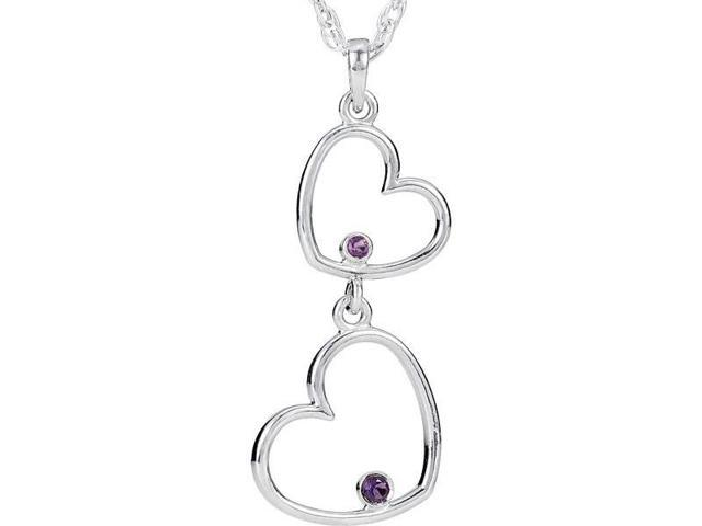 Genuine Sterling Silver Double Amethyst Heart Pendant with a chain
