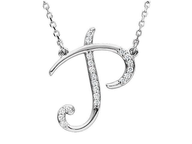 Genuine Sterling Silver Diamond Initial P Pendant with a chain