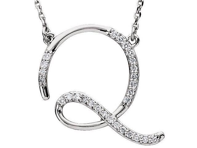 Genuine Sterling Silver Diamond Initial Q Pendant with a chain