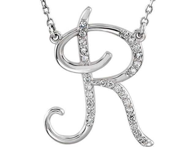 Genuine Sterling Silver Diamond Initial R Pendant with a chain