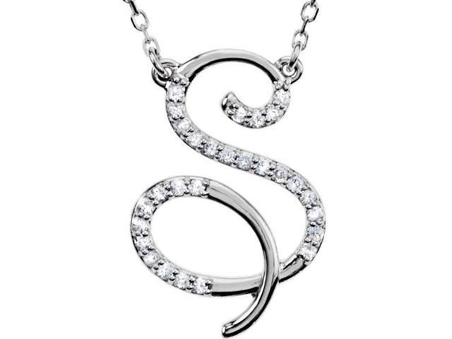 Genuine Sterling Silver Diamond Initial S Pendant with a chain