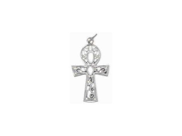 Genuine Sterling Silver Diamond Cut Ankh Charm Pendant with chain