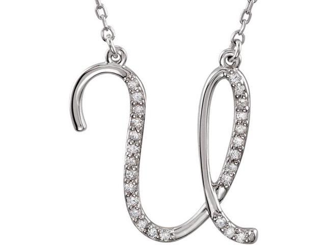 Genuine Sterling Silver Diamond Initial U Pendant with a chain
