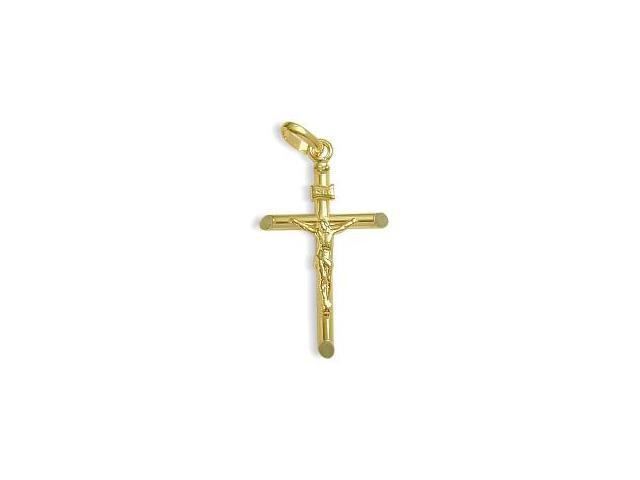 Small 14 Karat Yellow Gold Religious Crucifix with Chain