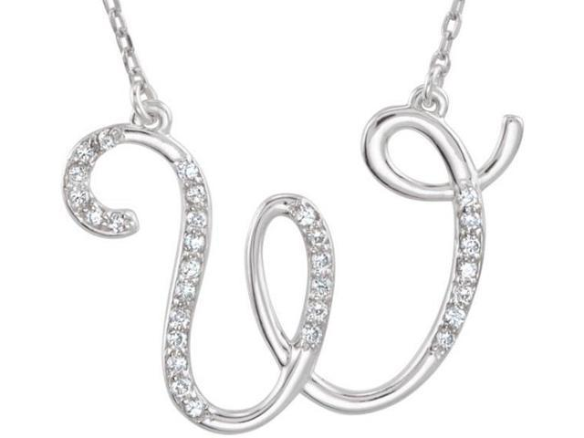 Genuine Sterling Silver Diamond Initial W Pendant with a chain