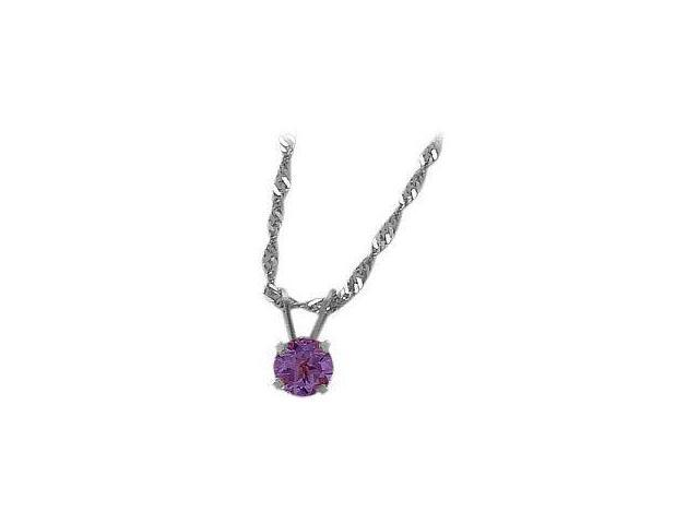 February 0.45tcw. 5mm 14 Karat White Gold Genuine Round Amethyst Pendant