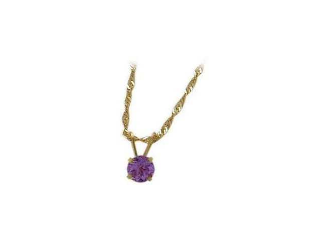 February 0.45tcw. 5mm 14 Karat Yellow Gold Genuine Round Amethyst Pendant