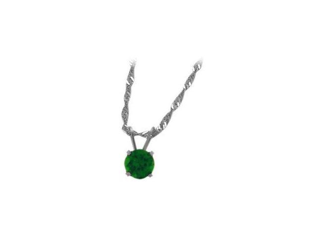 May 0.45tcw. 5mm 14 Karat White Gold Created Round Emerald Pendant