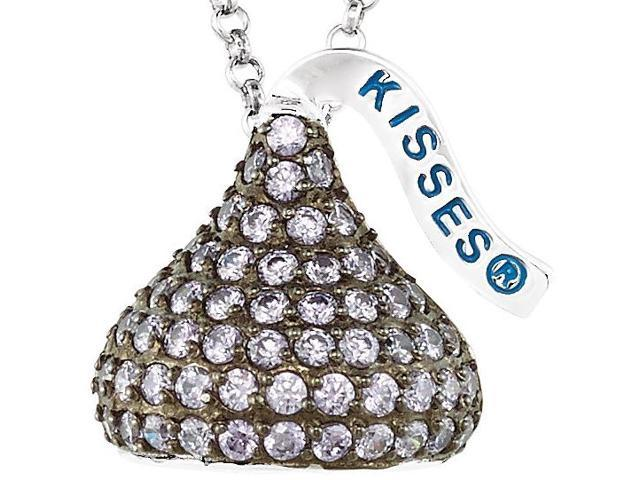 HERSHEY'S KISSES® Silver February CZ Multi-Stone Pendant with Chain