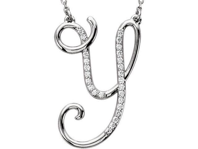 Genuine Sterling Silver Diamond Initial Y Pendant with a chain