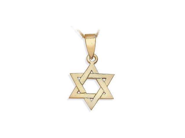 14 Karat Religious Yellow Gold High Polish Star of David Jewish Pendant with Chain