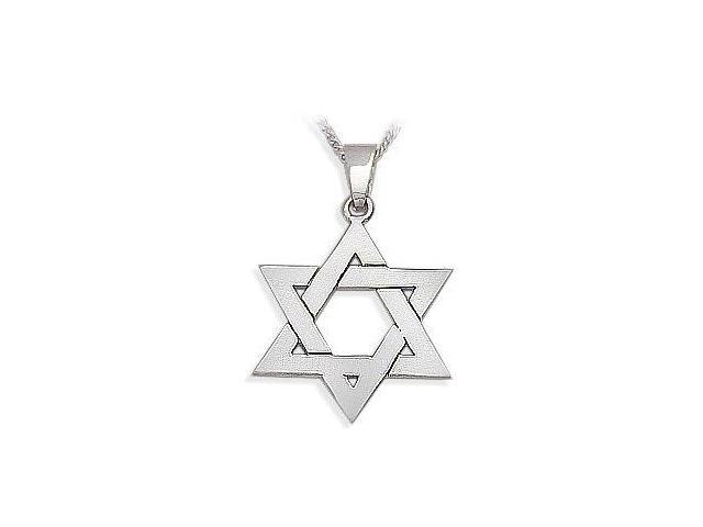 14 Karat Religious White Gold High Polish Star of David Jewish Pendant with Chain