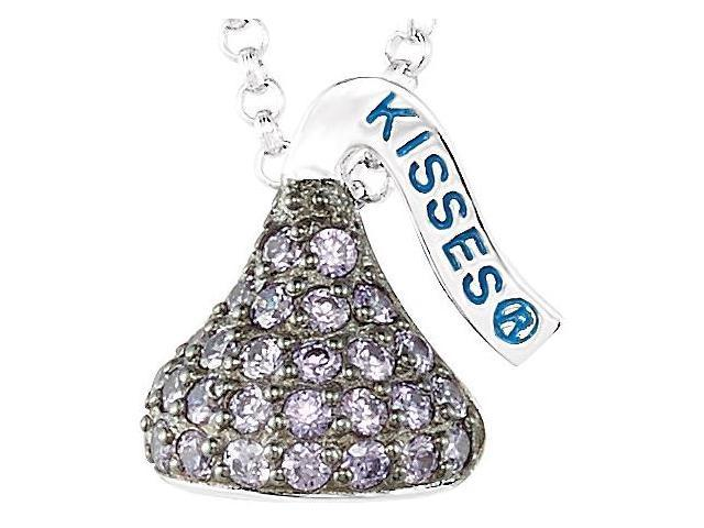 HERSHEY'S KISSES® Silver February Small CZ Multi-Stone Pendant with Chain