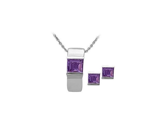 Ladies Genuine Sterling Silver Amethyst Pendant & Earrings Set with a chain