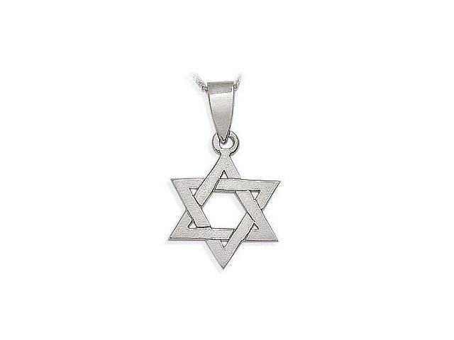 14 Karat High Polish White Gold Religious Star of David Jewish Pendant with Chain