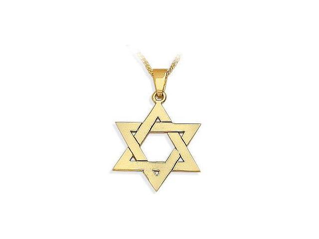 14 Karat High Polish Religious Yellow Gold Star of David Jewish Pendant with Chain