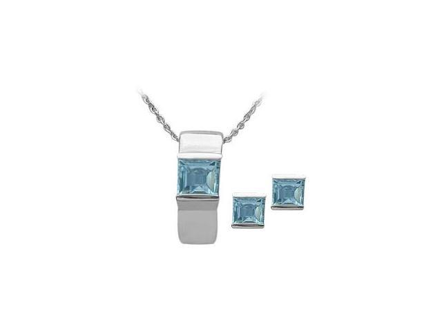 Ladies Genuine Sterling Silver Blue Topaz Pendant & Earrings Set with a chain
