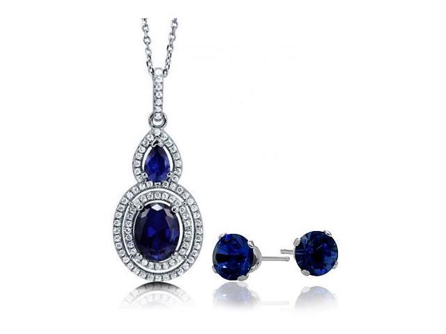 4.50 Carat Created Sapphire Double Halo Pendant & Earring Set with a chain