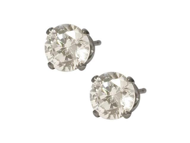 6mm SWAROVSKI Elements White Crystal Stud Earrings