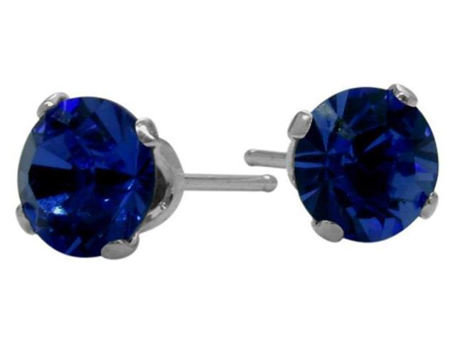 1.20Ct. Genuine 5mm Round Sapphire 14 Karat White Gold Stud Earrings