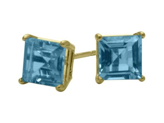 0.50Ct. Genuine 4mm Square Princess Blue Topaz 14 Karat Yellow Gold Stud Earrings
