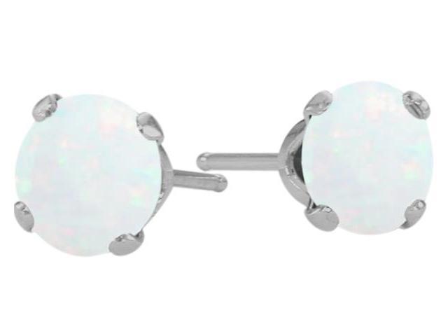 Genuine 5mm Round Opal 14 Karat White Gold Stud Earrings