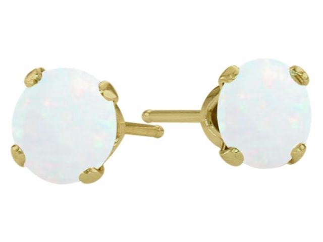 Genuine 5mm Round Opal 14 Karat Yellow Gold Stud Earrings