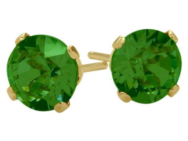 0.90Ct. Created 5mm Round Emerald 14 Karat Yellow Gold Stud Earrings