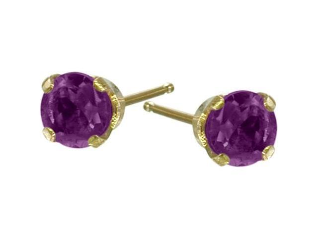 Genuine 2.5mm Amethyst 14 Karat Yellow Gold Round  Earrings