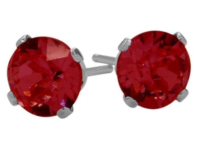 1.10Ct. Created 5mm Round Ruby 14 Karat White Gold Stud Earrings
