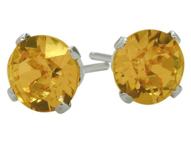 0.80Ct. Genuine 5mm Round Citrine 14 Karat White Gold Stud Earrings