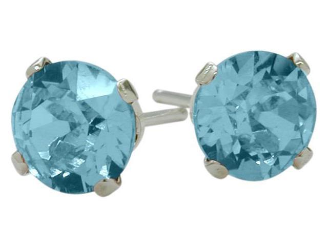 1.10Ct. Genuine 5mm Round Blue Topaz 14 Karat White Gold Stud Earrings