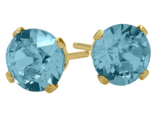 1.10Ct. Genuine 5mm Round Blue Topaz 14 Karat Yellow Gold Stud Earrings