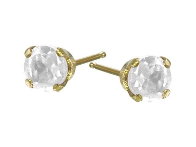 Genuine 2.5mm White Topaz 14 Karat Yellow Gold Round Earrings