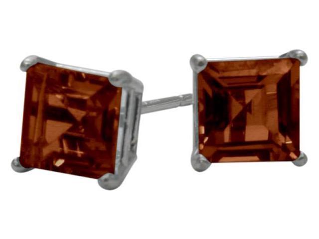 1.50Ct. Genuine 5mm Square Princess Cut Garnet 14 Karat White Gold Stud Earrings