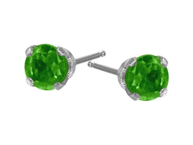 Genuine 2.5mm Emerald 14 Karat White Gold Round Earrings