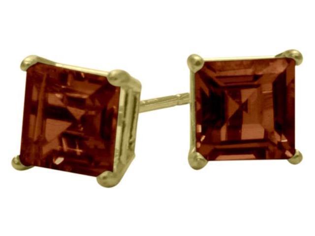 1.50Ct. Genuine 5mm Square Princess Cut Garnet 14 Karat Yellow Gold Stud Earrings