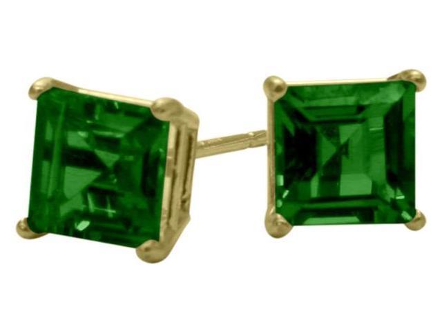 1.10Ct. Created 5mm Square Princess Cut Emerald 14 Karat Yellow Gold Stud Earrings