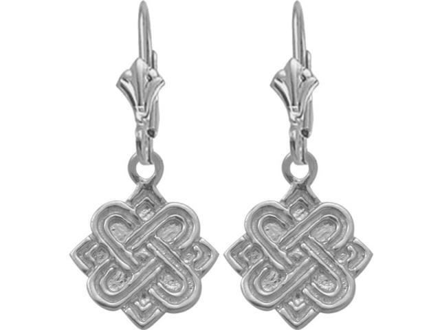 10 Karat White Gold Celtic Earrings