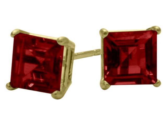 1.50Ct. Created 5mm Square Princess Cut Ruby 14 Karat Yellow Gold Stud Earrings