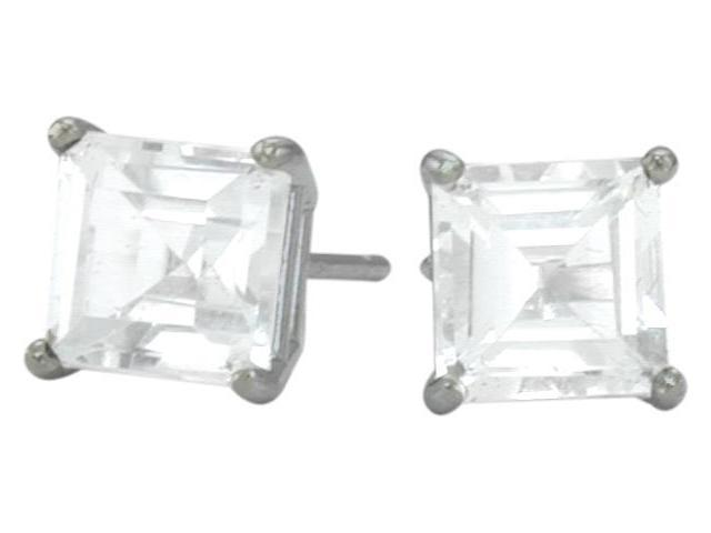 1.30Ct. Genuine 5mm Square Princess Cut White Topaz 14 Karat White Topaz Stud Earrings