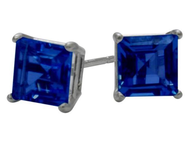 1.20Ct. Created 5mm Square Princess Cut Sapphire 14 Karat White Gold Stud Earrings