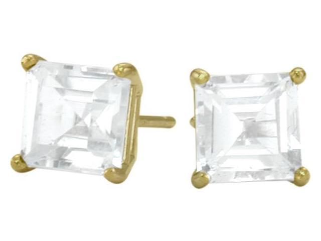 1.30Ct. Genuine 5mm Square Princess Cut White Topaz 14 Karat Yellow Gold Stud Earrings