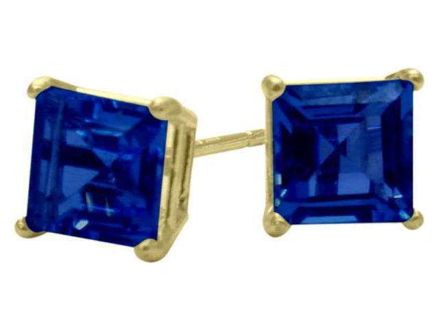 1.20Ct. Created 5mm Square Princess Cut Sapphire 14 Karat Yellow Gold Stud Earrings