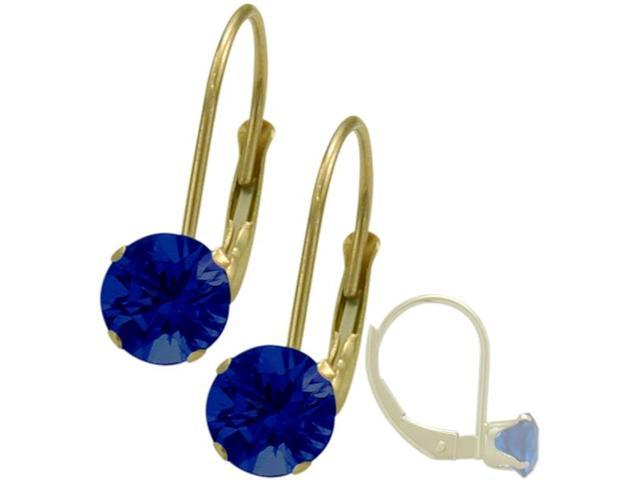September 10K Yellow Gold 1.10tcw. 5mm Sapphire Leverback Gem Earrings