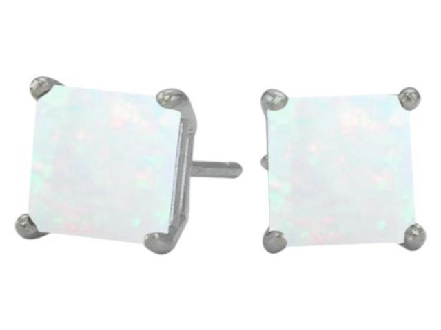 Genuine 5mm Square Princess Cut Opal 14 Karat White Gold Stud Earrings